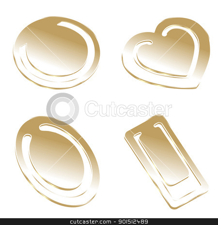 isolated golden paper clips stock vector clipart, fully editable vector illustration of isolated golden paper clips by pilgrim.artworks