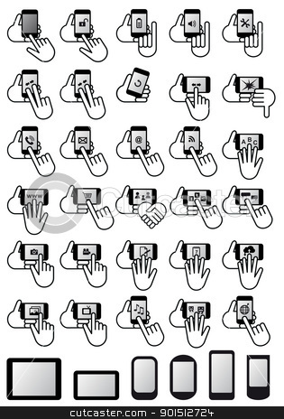 smartphones with hands, vector icon set stock vector clipart, smartphones with apps and hands, vector icon set by Beata Kraus