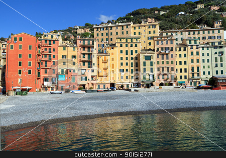 Camogli, promenade stock photo, seaside and promenade in Camogli, famous small town in Liguria, Italy by ANTONIO SCARPI