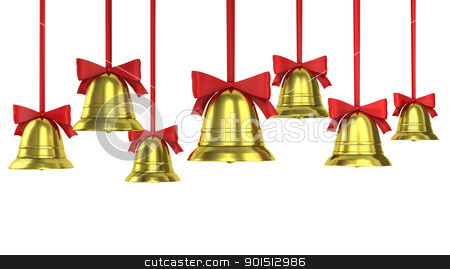A lot of Christmas bells with red ribbons stock photo, A lot of Christmas bells with red ribbons isolated on white background  by Zelfit