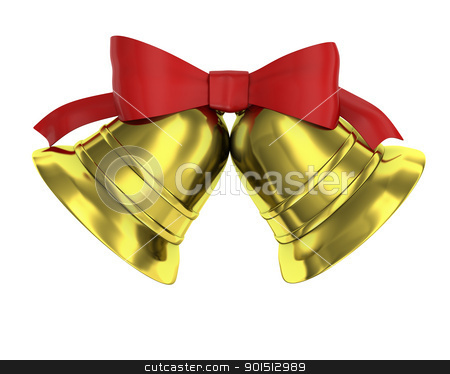 Two Christmas bells tied with red ribbon stock photo, Two Christmas bells tied with red ribbon isolated on white background by Zelfit
