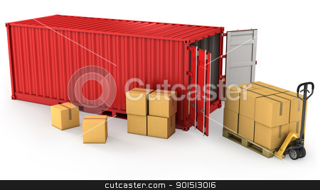 Red opened container and many of carton boxes on a pallet stock photo, Red opened container and many of carton boxes on a pallet, isolated on white background by Zelfit