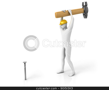 Man with huge hamer hits the nail stock photo, Man with huge hamer hits the nail isolated on white background  by Zelfit