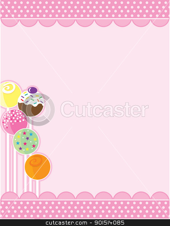 Cake Pops stock vector clipart, A pink background with top and bottom decorative borders. A stand of candy pops embellishes the left margin. by Maria Bell