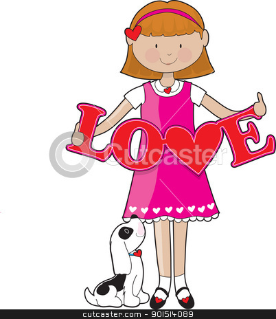 Little Girl Love stock vector clipart, A little girl in a pink dress with a puppy at her feet, holds big red cut-out letters, spelling the word LOVE. by Maria Bell