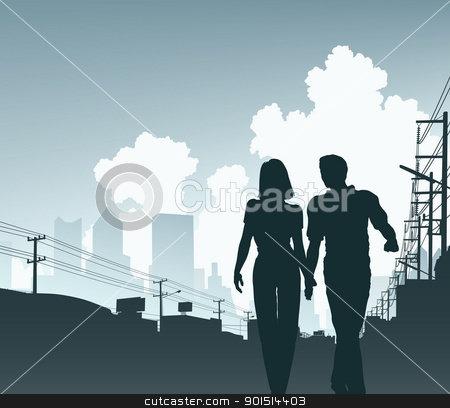 City couple stock vector clipart, Editable vector illustration of a couple walking along an urban street by Robert Adrian Hillman