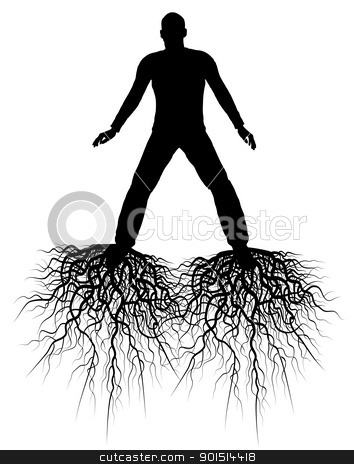 Roots stock vector clipart, Editable vector silhouette of a man with roots from his feet by Robert Adrian Hillman