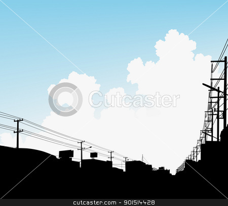Urban clouds stock vector clipart, Editable vector illustration of clouds over a city by Robert Adrian Hillman