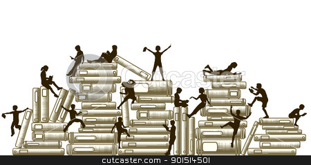 Learning stock vector clipart, Editable vector illustration of children reading and clambering over piles of books by Robert Adrian Hillman