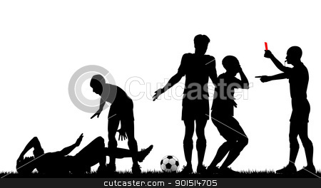Red card stock vector clipart, Editable vector silhouette of a referee sending off a footballer with all elements as separate objects by Robert Adrian Hillman
