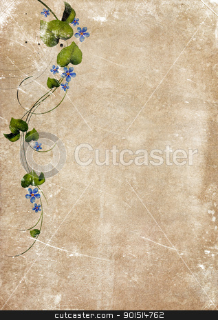 Aged Vintage Paper with Ornament stock photo, Grungy backdrop of old paper texture with floral ornaments by HypnoCreative