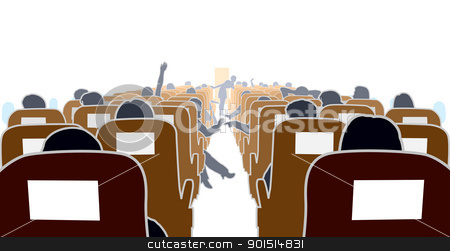 Airplane interior stock vector clipart, Editable vector illustration of passengers in an airplane by Robert Adrian Hillman