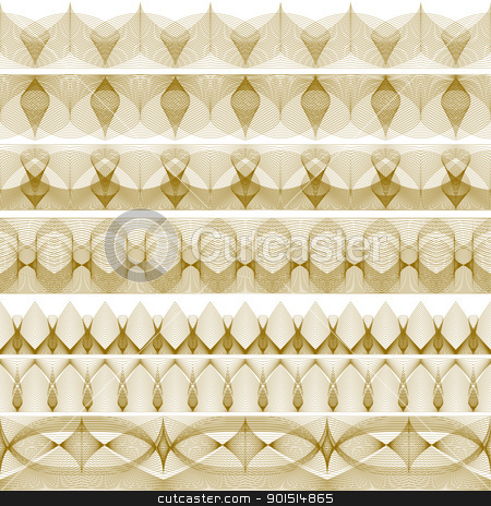 Edgings stock vector clipart, Set of editable vector decorative edges made using blends by Robert Adrian Hillman