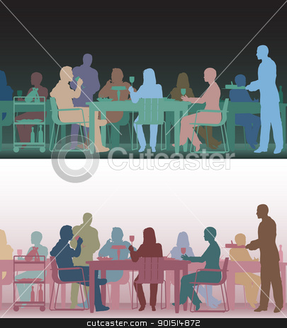 Toned restaurant stock vector clipart, Two color versions of the same editable vector scene of people eating in a restaurant by Robert Adrian Hillman