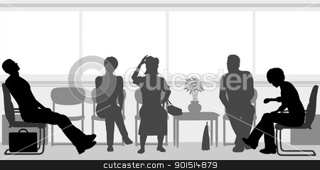 Waiting room stock vector clipart, Editable vector silhouettes of people sitting in a waiting room by Robert Adrian Hillman