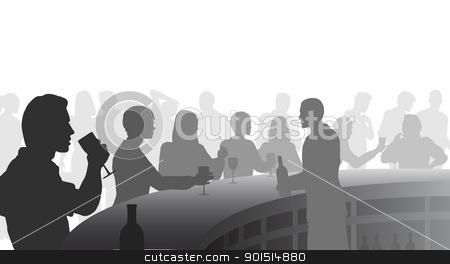 Wine bar stock vector clipart, Editable vector silhouettes of people in a wine bar with all figures as separate objects by Robert Adrian Hillman