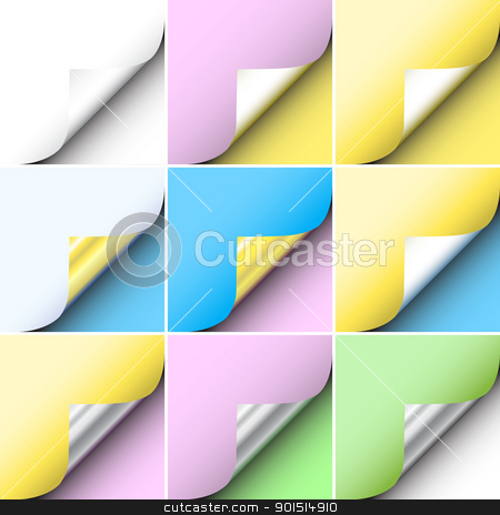 Paper corners stock vector clipart, Set of editable vector peeling corners of paper by Robert Adrian Hillman