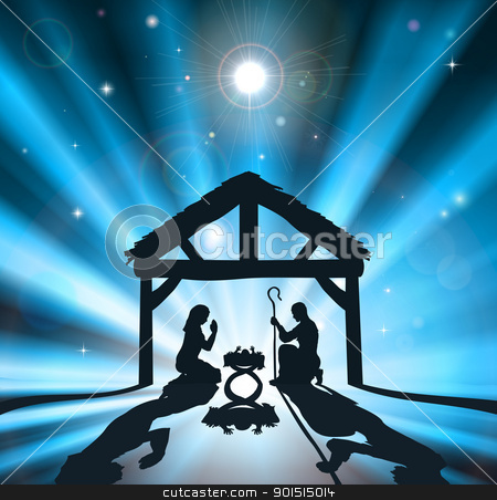 The Christmas Nativity stock vector clipart, Christian Christmas nativity scene of baby Jesus in the manger with the virgin Mary and Joseph by Christos Georghiou