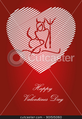 valentine postcard stock vector clipart, silhouette of woman Devil on heart background  by Artush