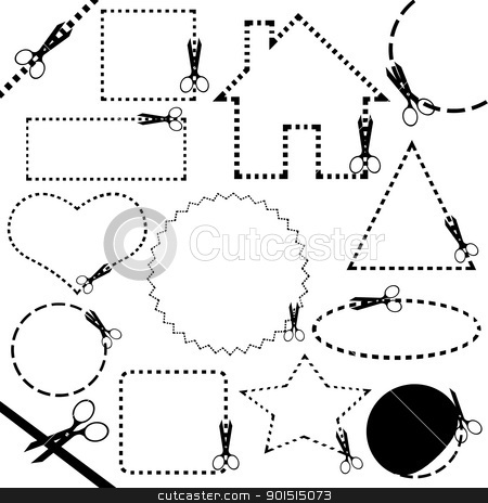 Different scissors cutting line stock vector clipart, Different scissors cutting line isolated on white by Ioana Martalogu
