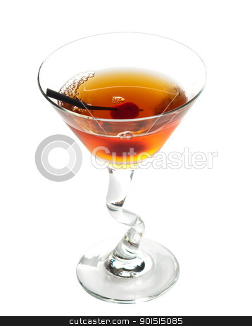 Manhattan cocktail stock photo, Manhattan cocktail on martini glass with Maraschino Cherrie isolated on white background by borojoint