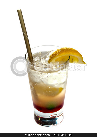 Alcoholic cocktail stock photo, Alcoholic cocktail  isolated on white background by borojoint