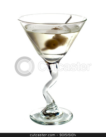 Martini dry stock photo, Dry Martini cocktail isolated on white background by borojoint