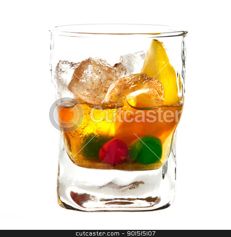 Alcoholic cocktail stock photo, Alcoholic cocktail in old fasioned glass isolated on white background by borojoint