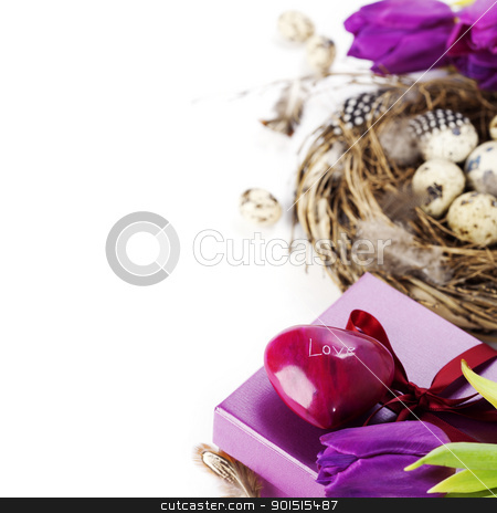 easter eggs with purple tulip flowers and gifts stock photo, easter eggs with purple tulip flowers  and gifts on white background by klenova