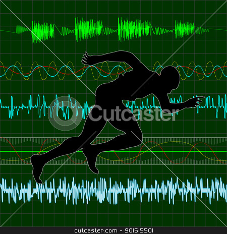 Cardio stock vector clipart, Working out, running exercise with cardiac curves background by Richard Laschon