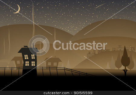 Brown hills stock vector clipart, Editable vector illustration of a night-time landscape by Robert Adrian Hillman