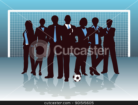 Business goal stock vector clipart, Editable vector illustration of a business team on a soccer pitch by Robert Adrian Hillman