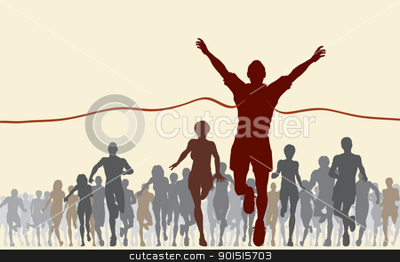 Finishing line stock vector clipart, Editable vector illustration of a man winning a race by Robert Adrian Hillman