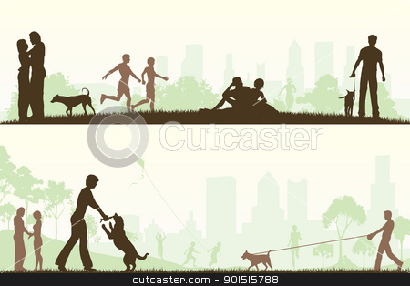 In the park stock vector clipart, Two editable vector designs of city parks with all elements as separate editable objects by Robert Adrian Hillman
