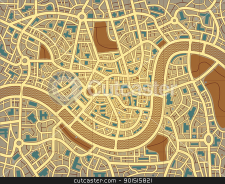 Nameless city map stock vector clipart, Editable vector illustration of a street map without names by Robert Adrian Hillman