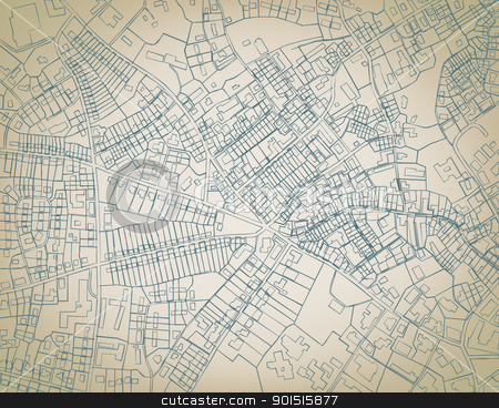 Rough map stock vector clipart, Editable vector sketch blueprint of a detailed generic street map without names by Robert Adrian Hillman