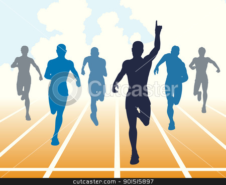 Sprint stock vector clipart, Editable vector illustration of men finishing a sprint race by Robert Adrian Hillman