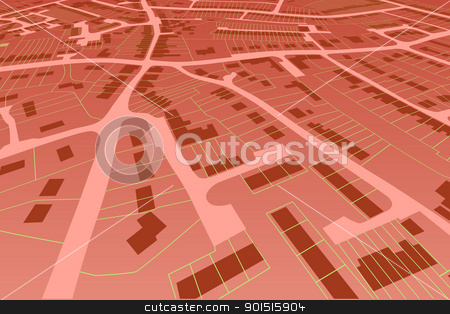Streetmap perspective stock vector clipart, Angled view of an editable vector housing map in a generic town by Robert Adrian Hillman