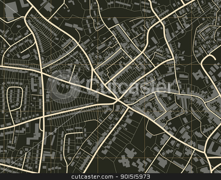 Town map stock vector clipart, Editable vector illustration of a detailed generic street map without names by Robert Adrian Hillman