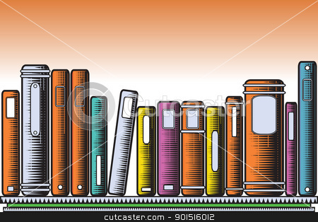 Woodcut books stock vector clipart, Editable vector illustration of colorful books on a shelf in woodcut style by Robert Adrian Hillman