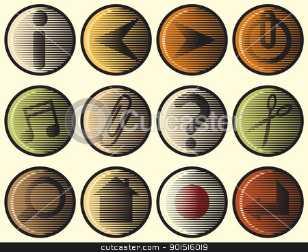 Woodcut icons stock vector clipart, Editable vector set of web icons in woodcut style by Robert Adrian Hillman