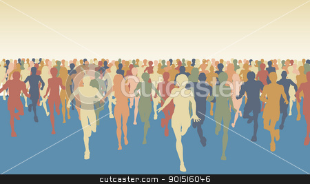 Marathon stock vector clipart, Editable vector colorful illustration of a large group of people running  by Robert Adrian Hillman