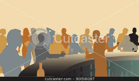 Colorful bar stock vector clipart, Toned editable vector silhouettes of people in a wine bar by Robert Adrian Hillman