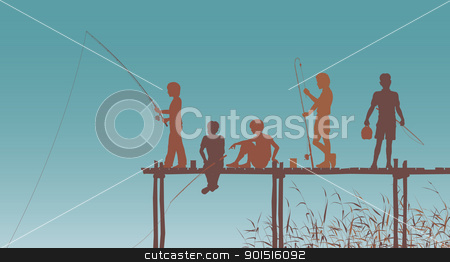 Fishing friends stock vector clipart, Editable vector silhouettes of children fishing from a wooden jetty by Robert Adrian Hillman
