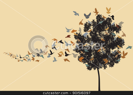 Home to roost stock vector clipart, Vector silhouettes of a pigeon flock flying to a tree roost by Robert Adrian Hillman