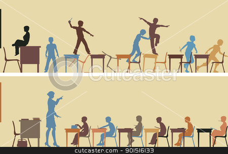 Classroom stock vector clipart, Illustrated silhouettes of two colorful classroom scenes by Robert Adrian Hillman