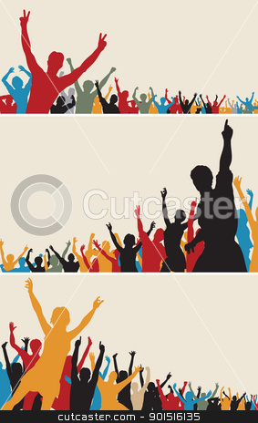 Color crowd silhouettes stock vector clipart, Set of colorful editable vector crowd silhouettes by Robert Adrian Hillman