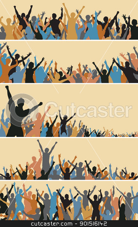 Crowd foregrounds stock vector clipart, Set of colorful editable vector crowd silhouettes by Robert Adrian Hillman
