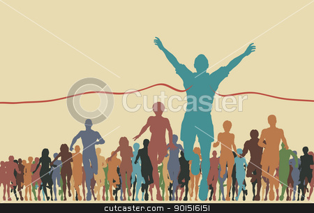 Finishing line stock vector clipart, Colorful editable vector illustration of a man winning a race by Robert Adrian Hillman