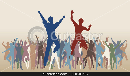 Jumping celebration stock vector clipart, Colorful editable vector illustration of people jumping in celebration by Robert Adrian Hillman